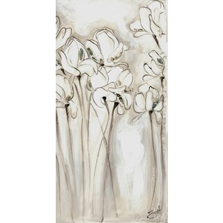 ArtMaison Canada 'Flower Sketch IV' 8.5 x 18.5-inch White/ Grey Canvas Wall Art