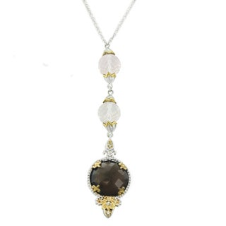 One-of-a-kind Michael Valitutti Palladium Silver Smoky and Rose Quartz with White Sapphire Necklace