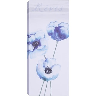 Hobbitholeco Samantha T. 'Blue Tall Flowers II' Gallery-wrapped Canvas Art