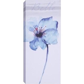 Hobbitholeco. 'Blue Tall Flowers I' Wrapped Canvas Art