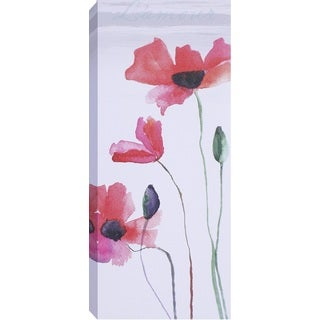 Hobbitholeco Red Tall Flowers I Canvas Art