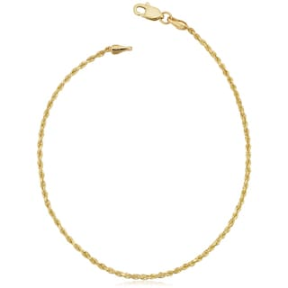 Fremada 14k Yellow Gold 1.5-mm Solid Rope Chain Anklet (10 inches)