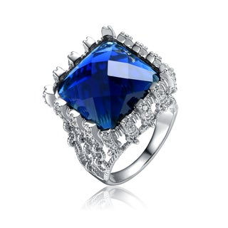 Collette Z Rhodium Plated Over Royal Blue Cubic Zirconia Ring Size 6