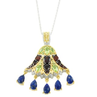 One-of-a-kind Michael Valitutti Palladium Silver Peridot, Garnet and Lapis Lotus Pendant