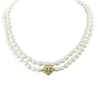 One-of-a-kind Michael Valitutti 14K Freshwater Pearl and Diamond Necklace