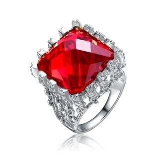 Collette Z Rhodium Plated Over Red Cubic Zirconia Ring Size 6