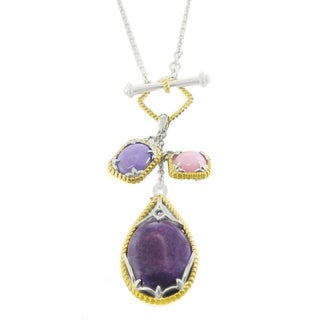 One-of-a-kind Michael Valitutti Palladium Silver Purple and Pink Jade Blue Sapphire Toggle Necklace