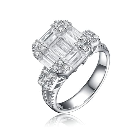 Collette Z Sterling Silver Cubic Zirconia Emerald-Cut Solitaire Ring Sizq 6. - White