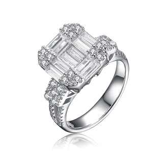Collette Z Sterling Silver Cubic Zirconia Emerald-Cut Solitaire Ring Sizq 6.