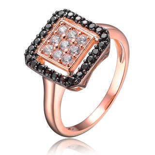 Collette Z Rose Gold Overlay Black and Clear Cubic Zirconia Pave Ring - White