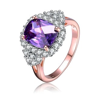 Collette Z Rose Gold Overlay Purple Cubic Zirconia Ring Size 6