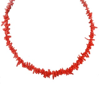 One-of-a-kind Michael Valitutti Palladium Silver Red Bamboo Branch Coral Toggle Necklace