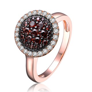 Collette Z Rose Gold Overlay Dark Cubic Zirconia Double Halo Ring - White