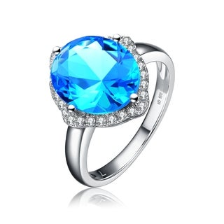Collette Z Sterling Silver Crystal Blue Cubic Zirconia Ring