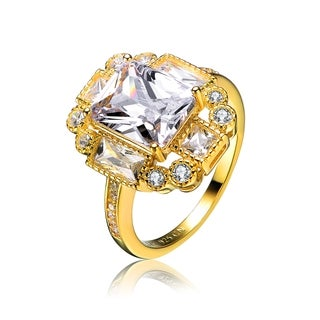 Collette Z Gold Overlay Cubic Zirconia Rectangle Ring