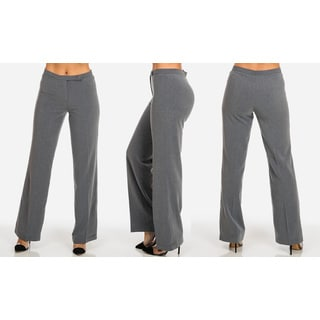 Women's Solid Mid-rise Work Dress Pants