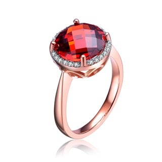 Collette Z Rose Gold Overlay Red Cubic Zirconia Ring Size 6