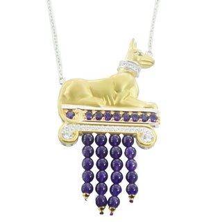 One-of-a-kind Michael Valitutti Palladium Silver African Amethyst, White Zircon and Chrome Diopside Egyptian Anubis Pendant