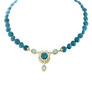 One-of-a-kind Michael Valitutti Palladium Silver Apatite and Blue Zircon Beaded Necklace