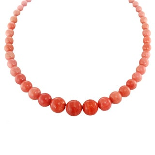 One-of-a-kind Michael Valitutti Sterling Silver Graduated Salmon Coral Beaded Toggle Necklace