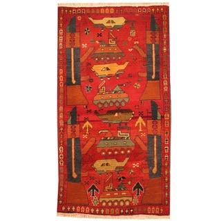 Herat Oriental Afghan Hand-knotted Tribal Turkoman Wool Rug (2'11 x 5'4)