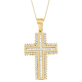 10k Yellow Gold 1ct TDW Round and Baguette-cut Diamond Cross Pendant (H-I, I1-I2)