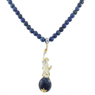 One-of-a-kind Michael Valitutti Palladium Silver Lapis, Citrine and Chrome Diopside Statue of Liberty Necklace