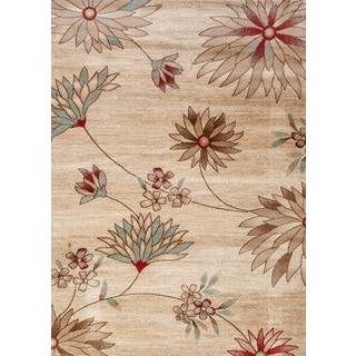 Fireside Beige, Crimson, and Light Blue Floral Area Rug (7'6 x 9'5)