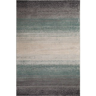 Fireside Blue, Grey, and Beige Area Rug (3'4 x 5'0)