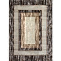 "Fireside Brown, Beige, and Caramel Bordered Area Rug - 3'4"" x 5'"
