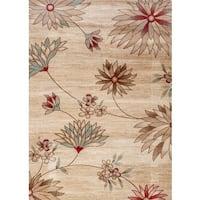 """Fireside Beige, Brown, Crimson, and Light Blue Floral Area Rug - 3'4"""" x 5'"""
