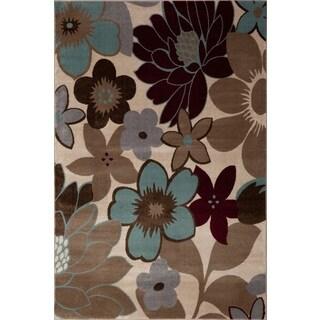 Fireside Beige, Brown, Crimson, and Light Blue Floral Area Rug (5'3 x 7'3)