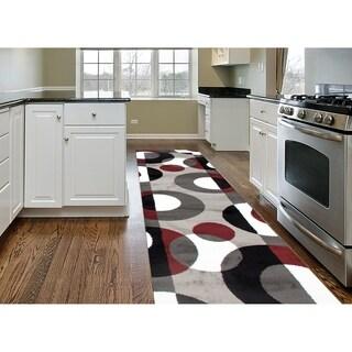 "Modern Geometric Burgundy, Black, White, and Grey Runner Rug - 2' x 7'2"""