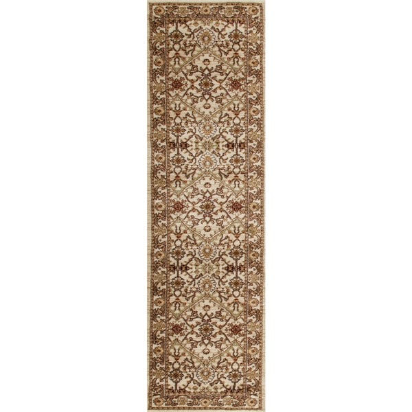 Cream, Caramel, and Burgundy Floral Pattern Runner Rug (2'0 x 7'2)