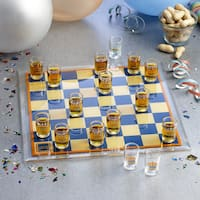 Game Night Glass 11.8-inch x 11.8-inch Checkers Game