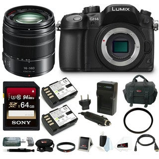Panasonic LUMIX GH4 Mirrorless Digital Camera w/ 14-140mm Lens & 64GB Bundle