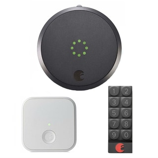 August Smart Lock and Smart Keypad (Dark Gray) with August Connect Wireless Receiver (White)
