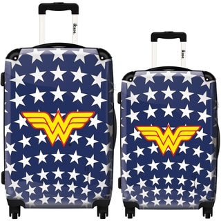 iKase Wonderwoman Stars 2-piece Fashion Hardside Spinner Luggage Set