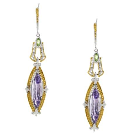One-of-a-kind Gems en Vogue Palladium Silver Pink Amethyst and Peridot Earrings
