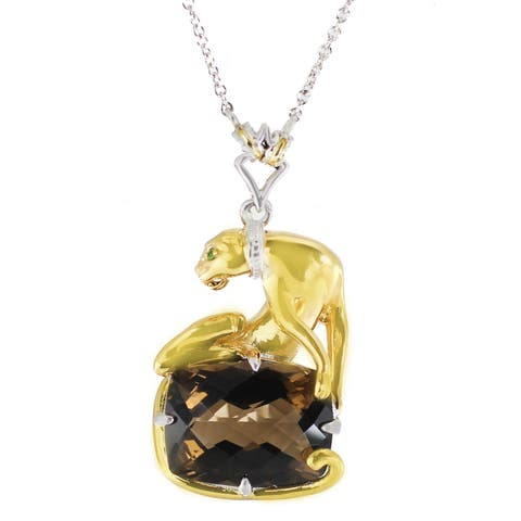 One-of-a-kind Michael Valitutti Palladium Silver Smoky Quartz and Chrome Diopside Panther Pendant
