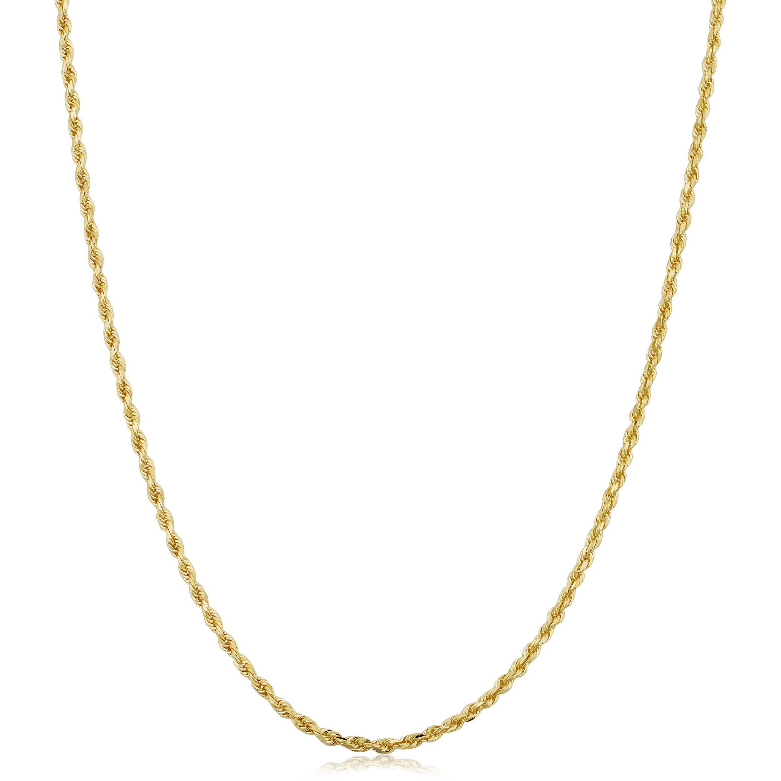 Shop Fremada 14k Yellow Gold 1 5 Mm Solid Rope Chain Necklace 14