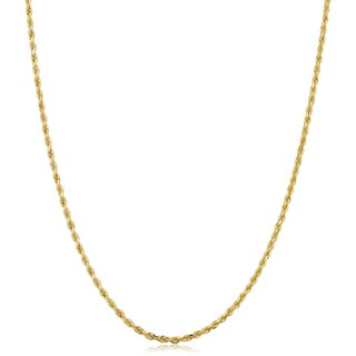 Fremada 14k Yellow Gold 1.5-mm Solid Rope Chain Necklace (14 - 30 inches) (5 options available)