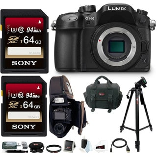 Panasonic LUMIX DMC-GH4K DMC-GH4KBODY GH4 16.05MP Digital Single Lens Mirrorless Camera with 128GB Deluxe Accessory Bundle