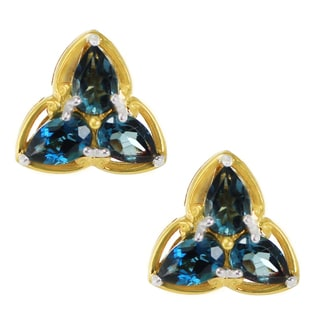 One-of-a-kind Michael Valitutti Palladium Silver London Blue Topaz Trefoil Stud Earrings
