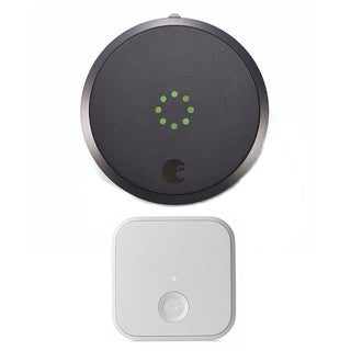 August Smart Lock (Dark Gray) and August Connect Wireless Receiver (White)