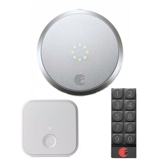 August Smart Lock (Silver) and Smart Keypad (Dark Gray) with August Connect Wireless Receiver (White)