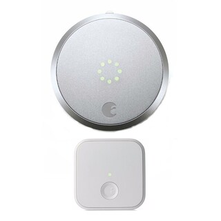 August Smart Lock Home Kit Enabled (Silver) and August Connect Wireless Receiver (White)