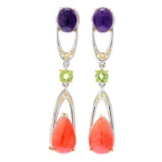 Michael Valitutti Palladium Silver Salmon Coral, African Amethyst and Peridot Earrings https://ak1.ostkcdn.com/images/products/13466108/P20153975.jpg?impolicy=medium