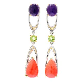 Michael Valitutti Palladium Silver Salmon Coral, African Amethyst and Peridot Earrings