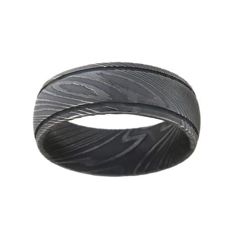 Men's Black Damascus Steel 8-millimeter Ring